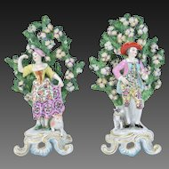 Pair late 19th Century Samson Bocage Figurines after Chelsea Man w Dog Woman w Sheep
