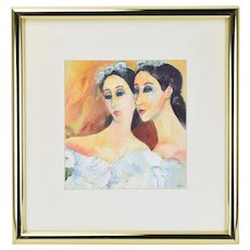 Watercolor Painting Twin Ballerinas with Floral Headpieces Janet Poppe Chicago