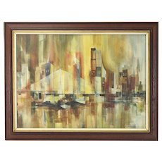 Vintage Mid-Century Modern Abstract Manhattan Cityscape Painting Les Fredericks