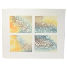 """Connie Leach """"4 May Days"""" Signed Colored Cloudscapes Etching Edition of 50"""