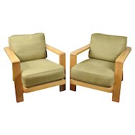 Vintage Pair Large White Oak Slat Back Lounge Chairs