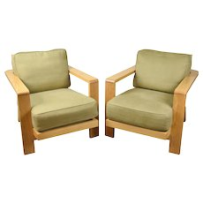 Vintage Pair Large White Oak Slat Back Lounge Chairs