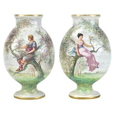 Pair St. Denis Antique French Porcelain Vases Hand Painted Lovers Perched in Trees