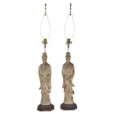 Pair 1940's Carved Wood Kwan Yin Flowing Robes Sculpture Figural Lamps
