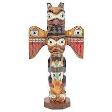 Hand Carved Wood Alaska Fog Woman Totem Pole Sculpture signed Patrick Seale