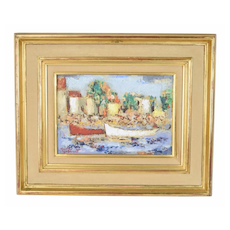"""Bateaux"" French Mid-Century Abstract Impressionist Oil Painting Michel Labonne"
