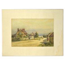 Alexander MacBride Early 20th Century British Watercolor Village Scene