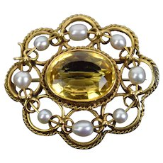 Antique Estate 14k Yellow Gold Brooch with Faceted Citrine and Pearls