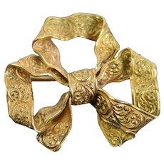Vintage Estate 14k Yellow Gold Ribbon Bow Brooch