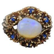 Vintage Estate 14k Solid Gold Ring Natural Shaped Opal & Round Sapphires