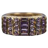 Vintage Estate 14k Solid Gold Ring Baguette & Round Amethysts