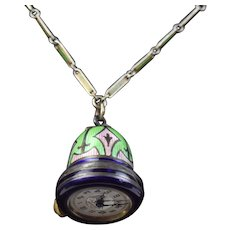 Art Deco Guilloche Enamel Ladies Bell Pendant Necklace Watch Sterling Silver