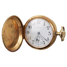 Antique 14k Solid Gold Elgin Pocket Watch Aesthetic Movement Hunter Case