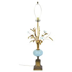 Vintage Mid-Century Venetian Murano Glass Sheaf of Wheat Gilt Metal Lamp