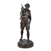 "Antique Emile Louis Picault French Bronze ""The Whaler"" 32in"