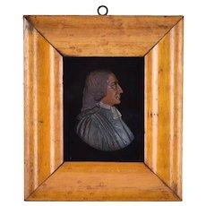 Antique Colored Wax Miniature Portrait John Wesley Methodist Church Founder