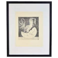 "Vintage Curt Frankenstein Etching ""Which Came First: The Chicken or the Egg"""