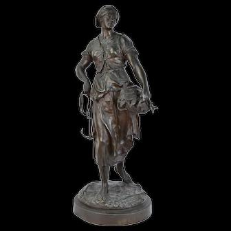 "Antique Emile Louis Picault French Bronze ""La Mareyeuse"" Fish Seller 32in"
