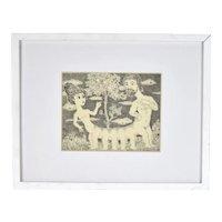 Vintage Curt Frankenstein Surrealist Etching Man and Woman Centipede Print