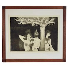 Vintage Curt Frankenstein Surrealist Etching Plant Nude Women with Hand Tree