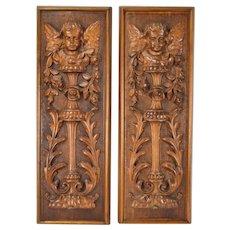 Pair 19th Century Carved Wood Panels Putti Angels Cherubs w Garlands
