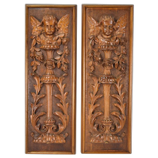 Pair 19th Century Carved Wood Panels Putti Angels Cherubs w Garlands