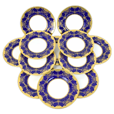Circa 1900 Set 12 Minton's Cobalt Blue Gilt Jeweled Dinner Plates Chargers M2966
