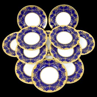 Circa 1900 Set 12 Minton's Cobalt Blue Gilt Jeweled Dinner Plates Chargers M2966