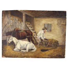 George Morland English Genre Oil Painting Mucking out Stable with Horses
