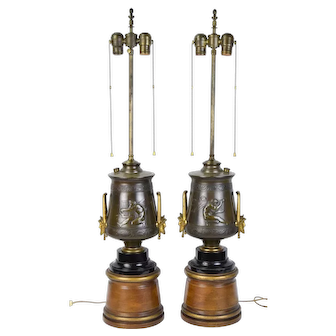Pair Greco-Roman Neo-Classical Revival Bronze Lamps Nude Male Figures Masks