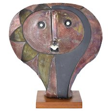 Vintage Doug Delind Art Pottery Sculpture Picasso-like Abstracted Face
