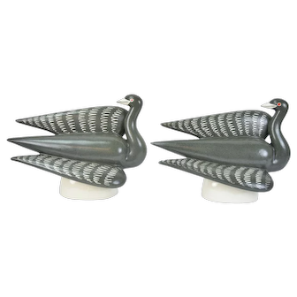 Pair Waylande Gregory Art Pottery Bird Sculptures Grey Herons signed