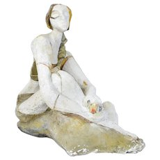 Vintage Mid-Century Modern Cubist Sculpture of Seated Woman Signed w Initials