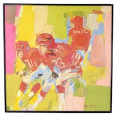 Italo Botti Oil Painting Football Atlanta Falcons Steve Bartkowski