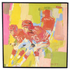 Italo Botti Oil Painting Football Atlanta Falcons Steve Bartkowski