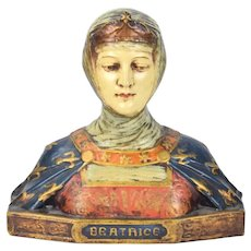 Circa 1920's Polychrome Decorated Lifesize Bust of Beatrice Dante Muse