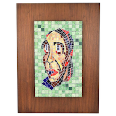 Vintage Mid-Century Modern Mosaic Abstract Portrait