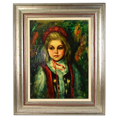 Vintage Oil Painting Little Girl in Vest with Red Hat signed S. Brooks