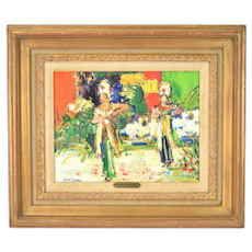 Yolande Ardissone French Impressionist Oil Painting Bali Dancers circa 1965