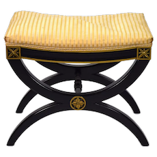 Vintage Neo-Classical Black Lacquer Curule Bench by Kindel