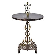 1920's Art Deco Marble Top Steel Occasional Table Stand