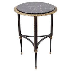 Vintage Empire Style Gilt Iron Marble Top Occasional or End Table Stand
