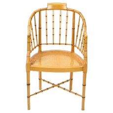 Baker Furniture Co. Faux Bamboo Armchair with Cane Seat