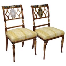Pair Italian Fine Galimberti Lino Chair Hand-Painted Neoclassical Scenes #1