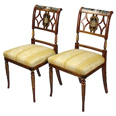 Pair Italian Fine Galimberti Lino Chair Hand-Painted Neoclassical Scenes #2