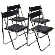 Set 4 Arrben Tamara Italian Modernist Chrome Black Leather Folding Chairs #1