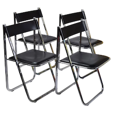 Set 4 Arrben Tamara Italian Modernist Chrome Black Leather Folding Chairs #1