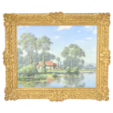 19th Century British Landscape Oil Painting Cottage Beside Pond T.F.M. Sheard