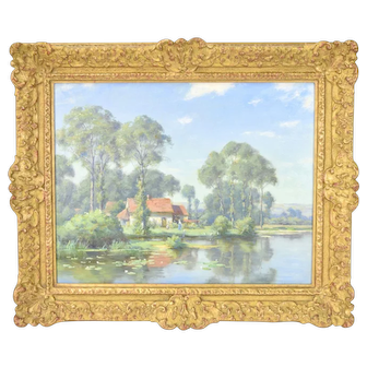 19th Century British Landscape Oil Painting Cottage Beside Pond T.F.M. Sheard