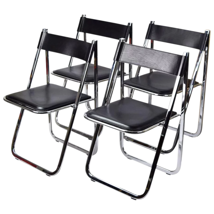 Awesome Set 4 Arrben Tamara Italian Modernist Chrome Black Leather Folding Chairs 2 Pabps2019 Chair Design Images Pabps2019Com